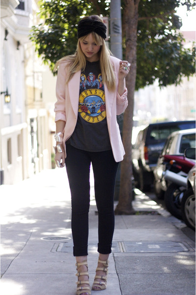 pink vintage blazer - beige surface to air shoes - gray vintage shirt