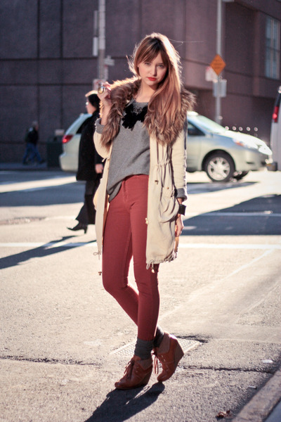 tawny H&M shoes - beige H&M jacket - heather gray Zara sweater