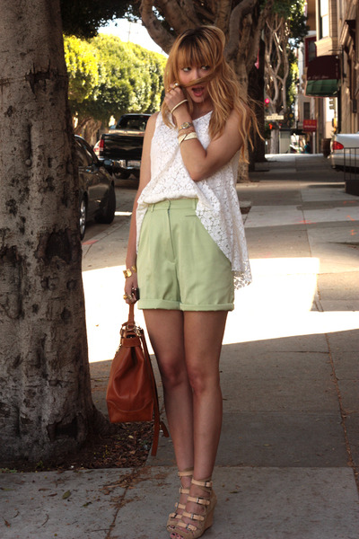 green thrifted shorts - white TheScarletRoom shirt