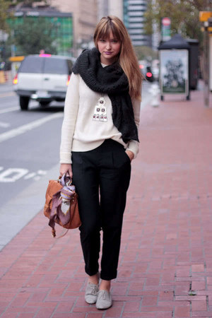 off white Zara sweater - tawny Zara bag - dark gray Zara scarf - black vince pan
