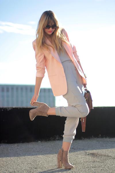 heather gray asos boots - light pink vintage blazer - periwinkle Maison de Marti