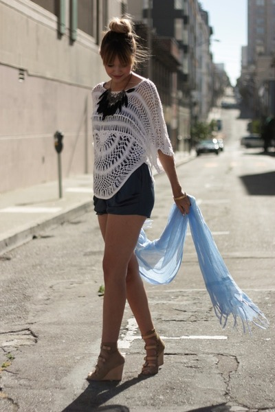 beige surface to air shoes - blue Urban Outfitters shorts - white Nastgygal top