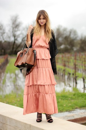 black loeffler randall shoes - coral H&M dress - black nastygal jacket