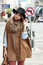 burnt orange American Apparel pants - tawny Zara cape