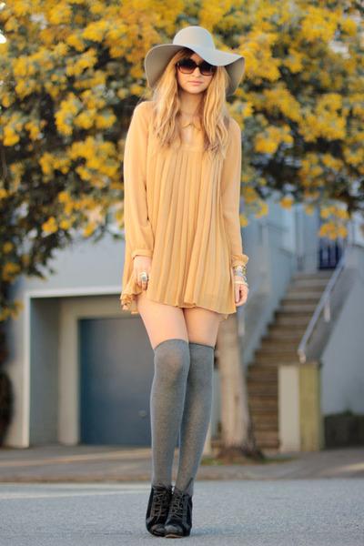 light orange LF dress - heather gray American Apparel hat - charcoal gray asos s