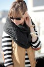 Black-h-m-sweater-charcoal-gray-zara-scarf-mustard-zara-vest-brick-red-ame