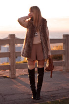 nude Queens Wardrobe shorts - black Zara boots - beige nastygal sweater