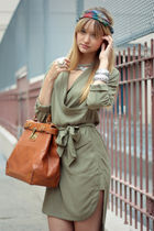 green H&M dress - green vintage scarf - brown storets bag