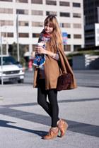 navy H&M scarf - tawny H&M shoes - tawny Zara jacket