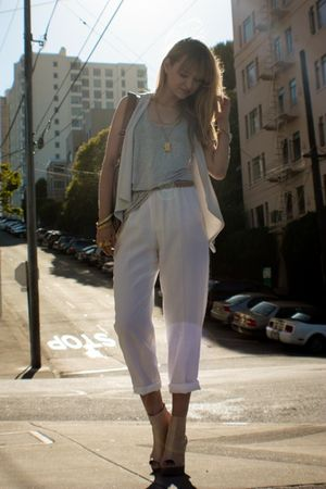 white vintage pants - beige Jeffrey Campbell via NeedSupply shoes
