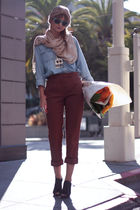 brown Missoni pants - blue thrifted shirt - beige Forever21 accessories