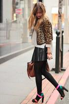 hot pink Zara shoes - dark brown vintage from Ebay jacket - silver H&M sweater -