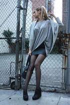 gray H&M shirt - gray Norma Kamali for Walmart sweater - black vintage skirt