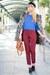 ruby red asos pants - blue asos sweater - black Alexander Wang wedges