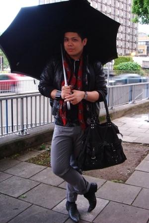 Topman jacket - Topman pants - Topman shoes - Alexander McQueen scarf - All Sain