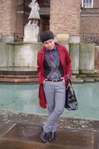 red Reiss coat - blue Cecil Gee shirt - gray All Saints cardigan - gray Topman p