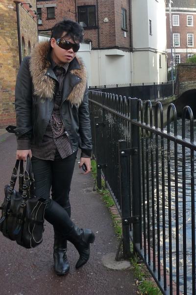 black H&M jacket - brown jasper conran shirt - black H&M jeans - black red or de