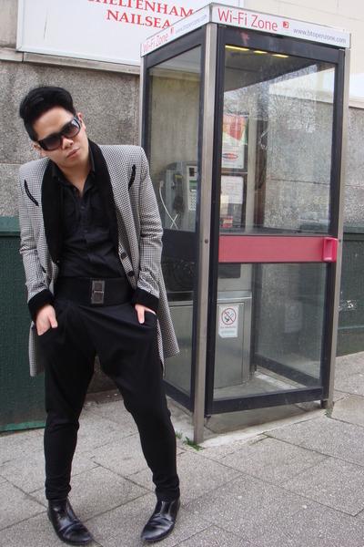 black Topshop coat - River Island shirt - black Zara pants - black River Island