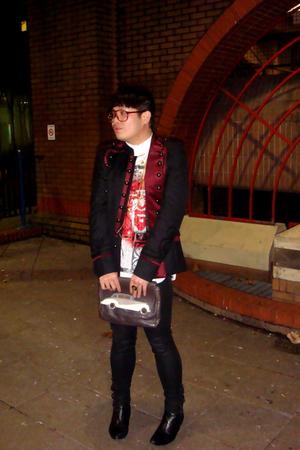 black Zara jacket - white John Galliano shirt - black H&M jeans - black red or d