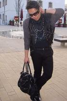 black vintage jacket - black H&M shirt - black Topman pants - silver warehouse n