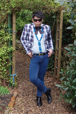 gray River Island jacket - white H&amp;M shirt - blue Topman jeans - black River Isl