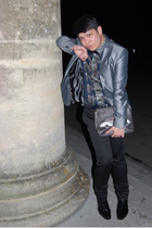 silver Zara jacket - blue D&G shirt - black Topman pants - black Jeffrey West bo