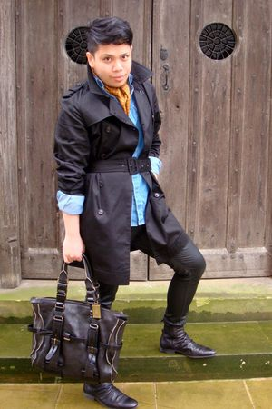 black Villain coat - blue Primark shirt - black H&amp;M pants - black gibson boots -