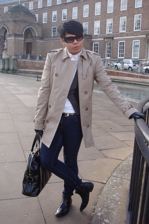 beige All Saints coat - blue Primark jeans - black River Island shoes - black Al