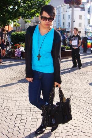 All Saints coat - H&M t-shirt - Topshop jeans - River Island boots - christian d