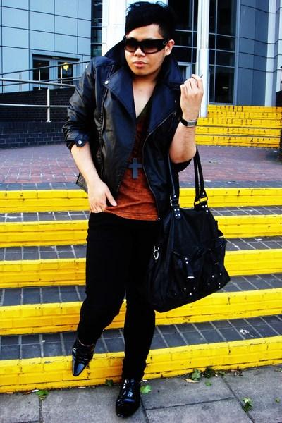 H&M jacket - American Apparel t-shirt - Primark jeans - Bertie shoes - All Saint