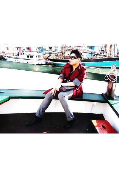 Reiss coat - red herring shirt - Topman pants - Topman shoes - Thomas Nash belt