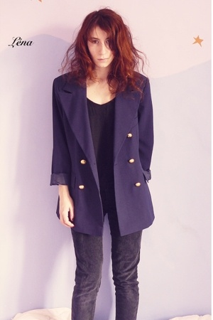 vintage jacket - Petit Bateau t-shirt - blendshe jeans