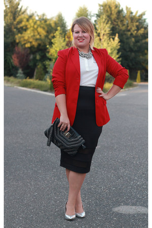 red vintage blazer - white F&F blouse - silver F&F heels - black asos skirt