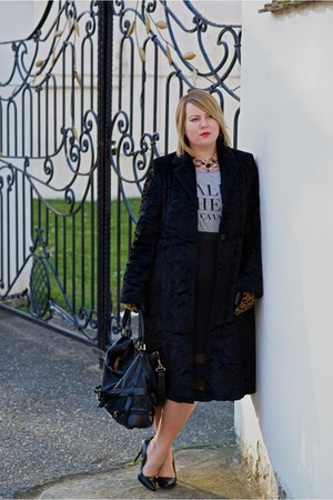 black Per Una coat - black Burberry bag - black new look skirt