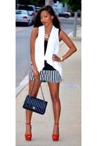 white drape vest Nordstrom vest - black lambskin Chanel bag