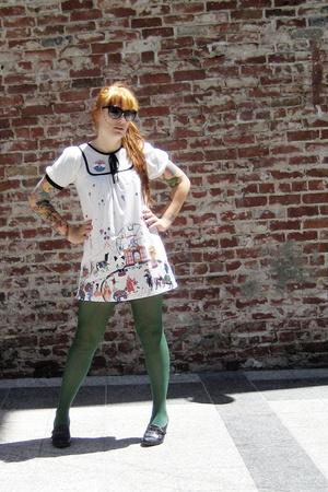 circus dress no tag - green tights Target - business shoes all black - dita