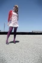 black shoes Irregular Choice - purple tights DKNY - bow dress the heart