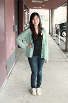 aquamarine mint Calson cardigan - navy skinny jeans American Eagle jeans
