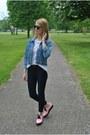Pink-h-m-shoes-black-topshop-jeans-blue-vintage-jacket-black-h-m-glasses