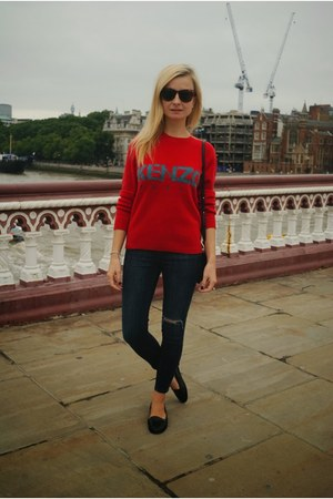 red Kenzo jumper - black Topshop jeans - black Celine bag - black Office loafers