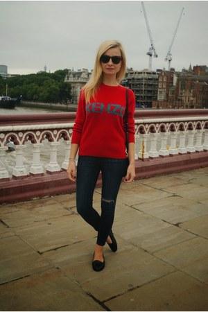 red Kenzo jumper - black Topshop jeans - black Celine bag - black Office loafers