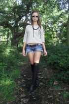 beige Zara blouse - blue abercrombie and fitch shorts - black Primark socks - bl