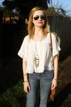 white H&M blouse - blue H&M jeans