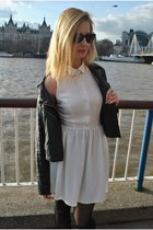 white Topshop dress - black Oasis jacket