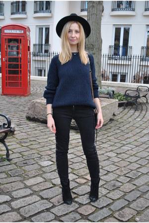 navy Zara sweater - black ASH boots - black Zara jeans