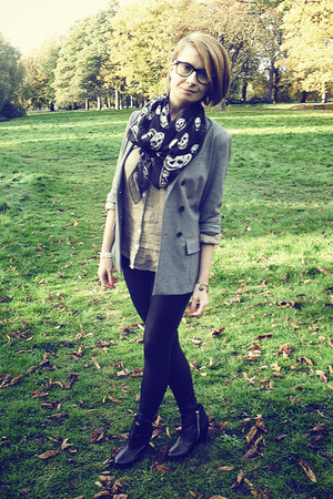 green Topshop shirt - silver Topshop blazer - black Alexander McQueen scarf - bl