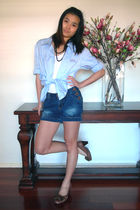 blue shirt - shorts - brown shoes - white top - black necklace