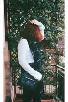 black zaful bag - white zaful sweater - GINA TRICOT scarf