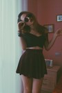 Round-yesfor-sunglasses-velvet-sheinside-skirt-crop-top-yesfor-top