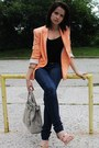Navy-denim-mango-jeans-light-orange-cotton-zara-blazer